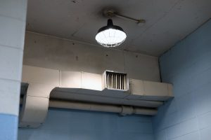 old light fixture and ductwork