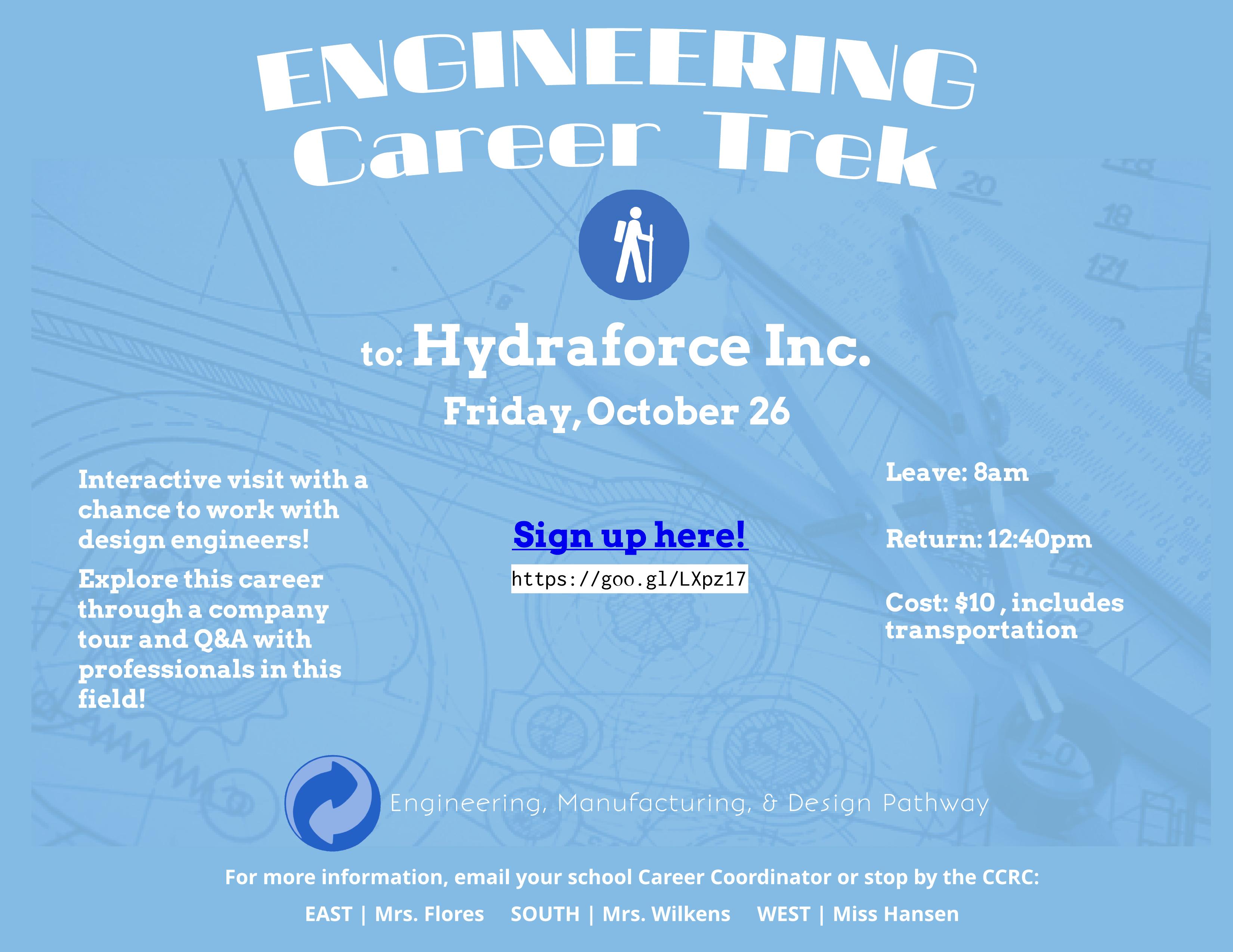 Career Trek monochrom ad Engineering, Manufacturing, & Design Hydraforce FINAL