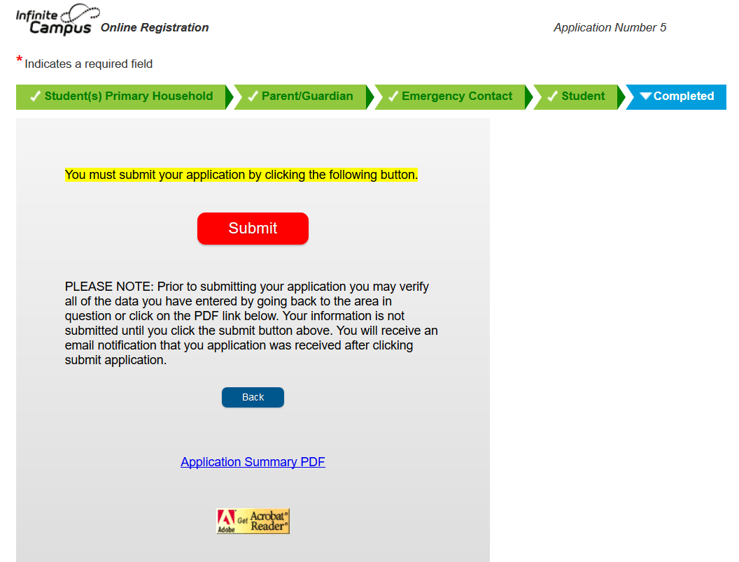 OLR Form Submition and Confirmation Page