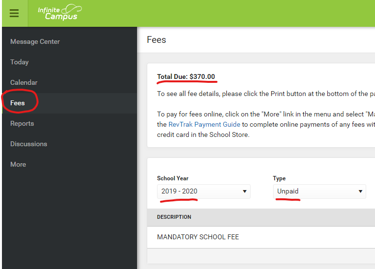 Fees in Parent Portal