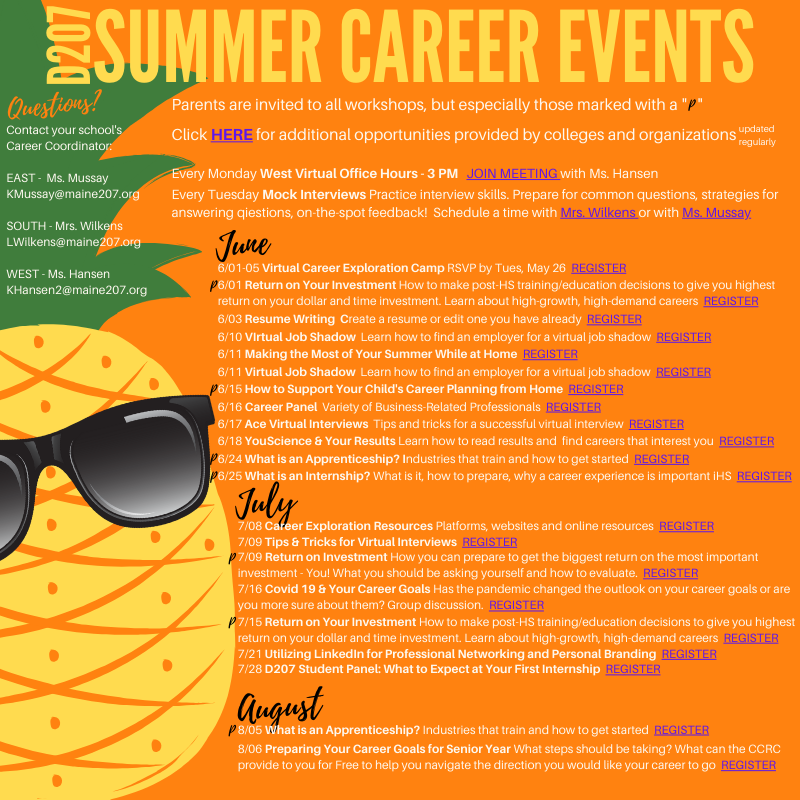 D207 Summer Career Events 2020 final