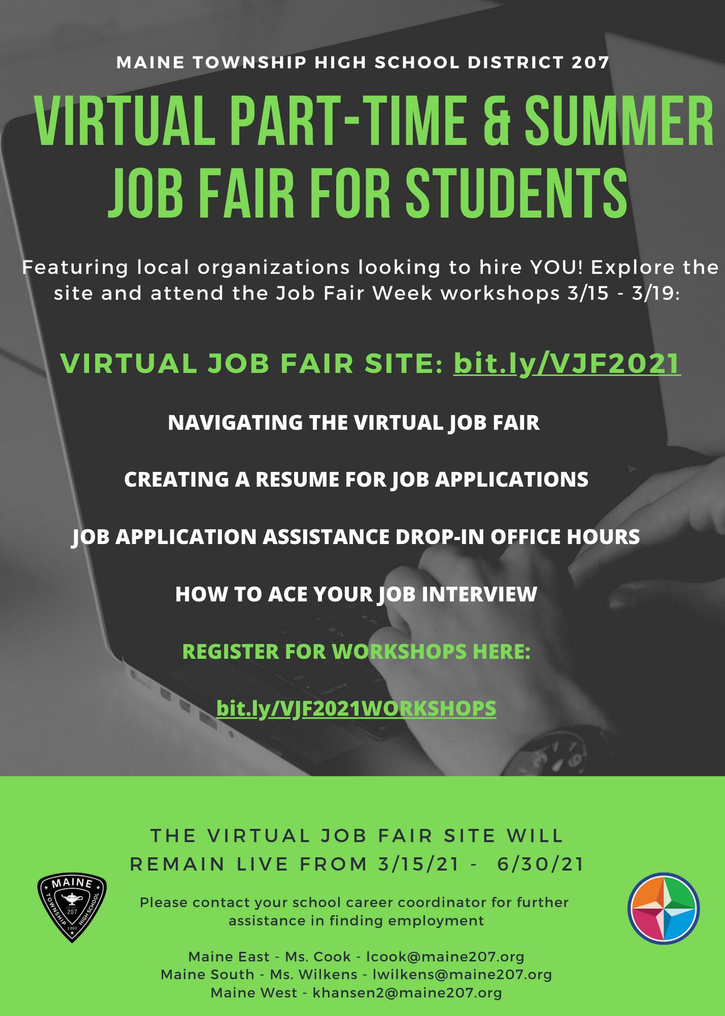 Virtual Job Fair Flyer List of Workshops